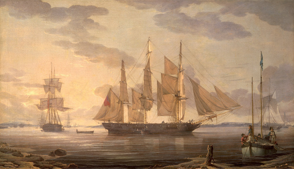 Detail of Ships in harbor by Robert Salmon