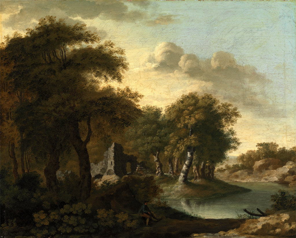 Detail of A View Near Arundel, Sussex, with Ruins by Water by George Smith