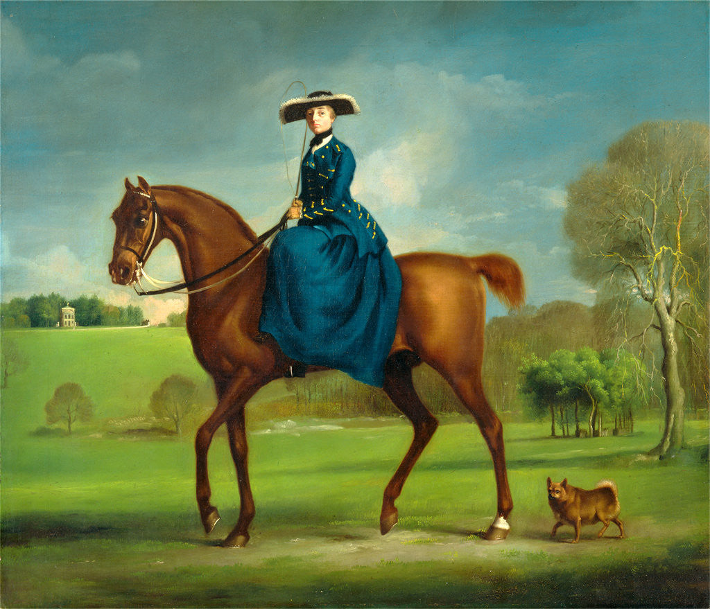 Detail of The Countess of Coningsby in the Costume of the Charlton Hunt by George Stubbs