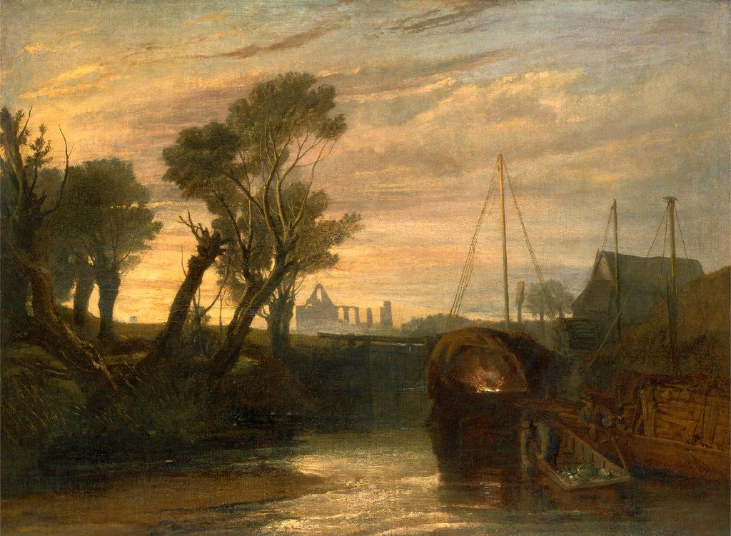 Detail of Newark Abbey Thames Lighter at Teddington Canal Scene with Barges The Lock--Glowing effect of Sunlight by Joseph Mallord William Turner