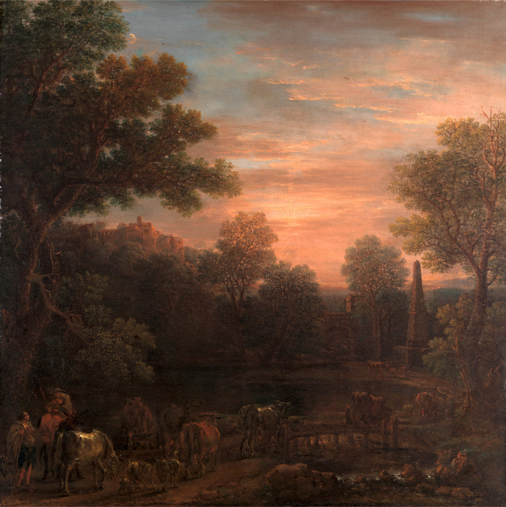 Detail of Classical Landscape: Evening by John Wootton