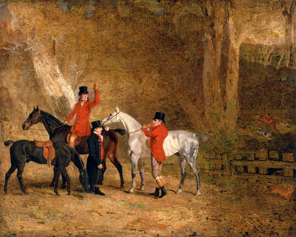 Detail of Foxhunting Scene Fox Hunting: Two Gentlemen with a Groom The Englington Brothers by Benjamin Marshall