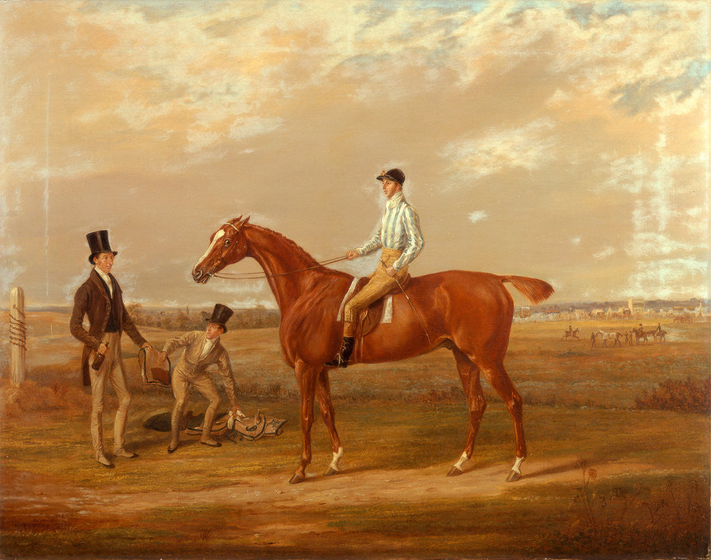Detail of Euphrates 'Euphrates' with Thomas Whitehurst up, and his trainer, Mr. W. Dilly by William Webb