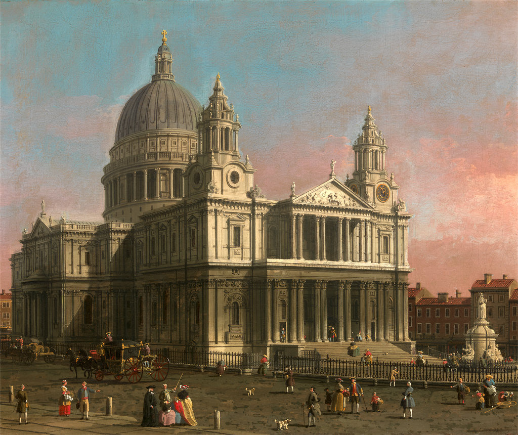 Detail of St. Paul's Cathedral, London, UK by Canaletto