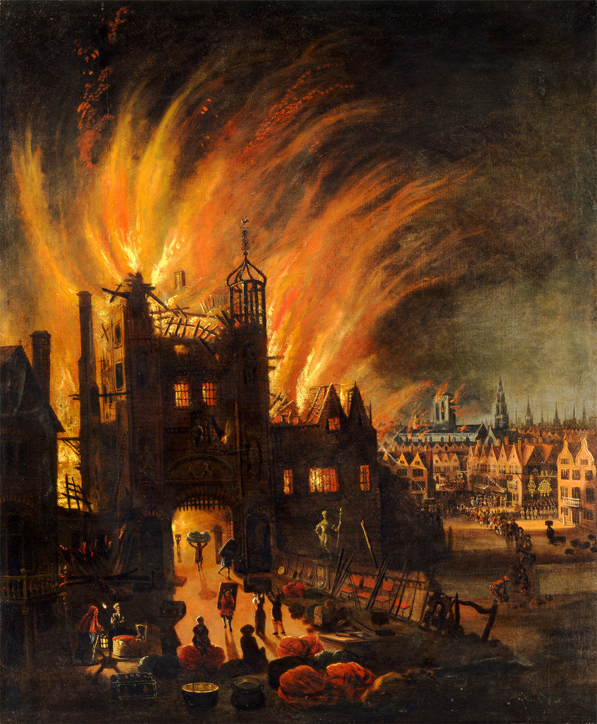 Detail of The Great Fire of London, with Ludgate and Old St. Paul's by Anonymous