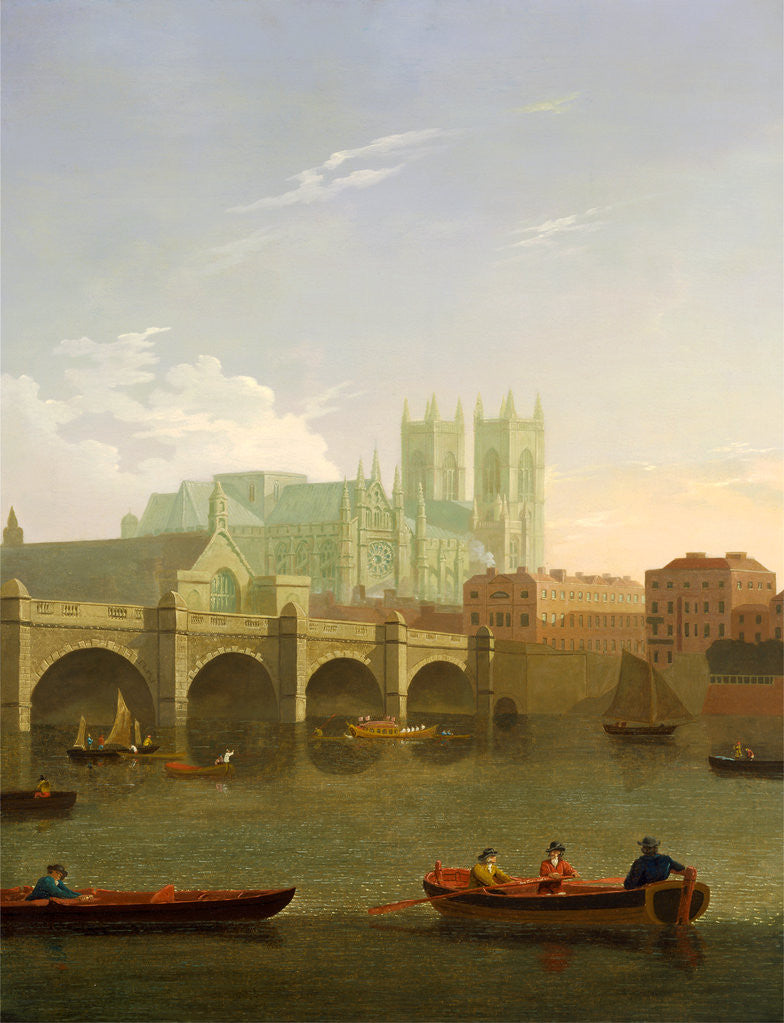 Detail of Westminster Abbey and Bridge by Joseph Farington