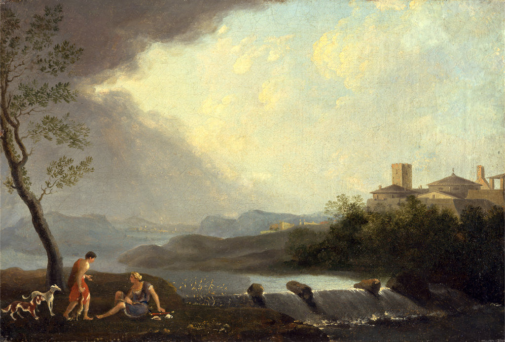 Detail of An Imaginary Italianate Landscape with Classical Figures and a Waterfall by Thomas Jones