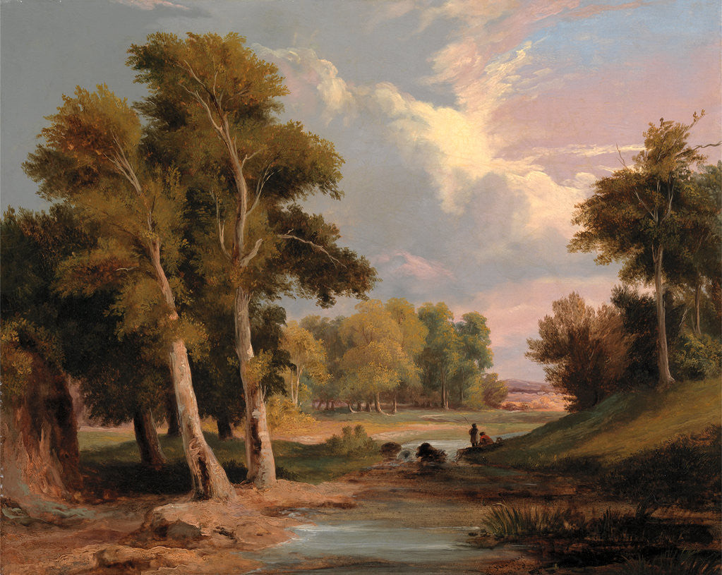 Detail of A Wooded River Landscape with Fishermen by James Arthur O'Connor