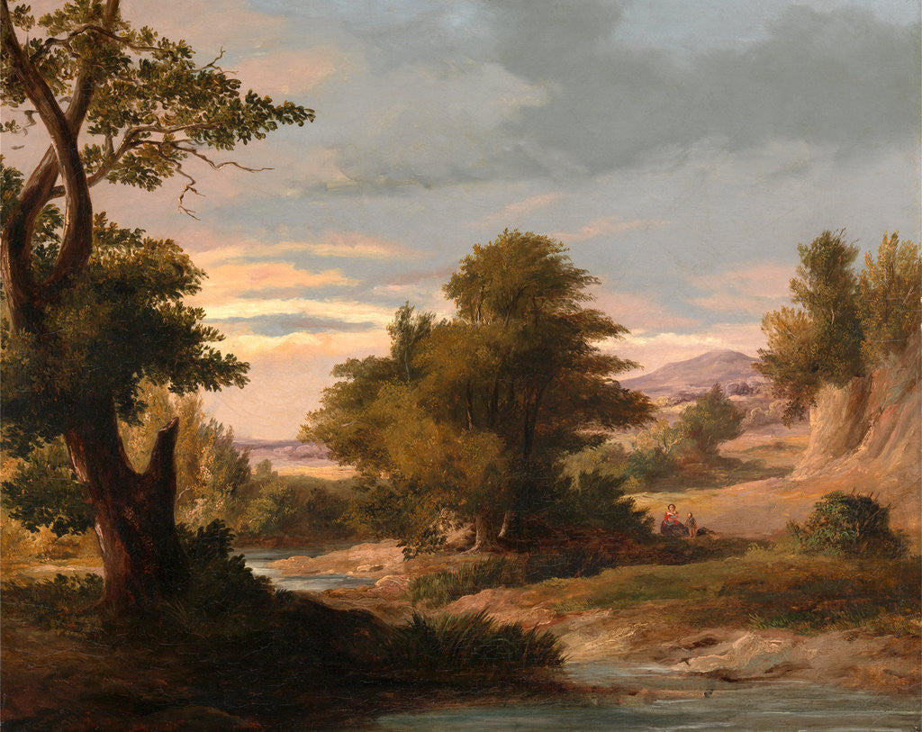 Detail of A Wooded River Landscape with Mother and Child by James Arthur O'Connor
