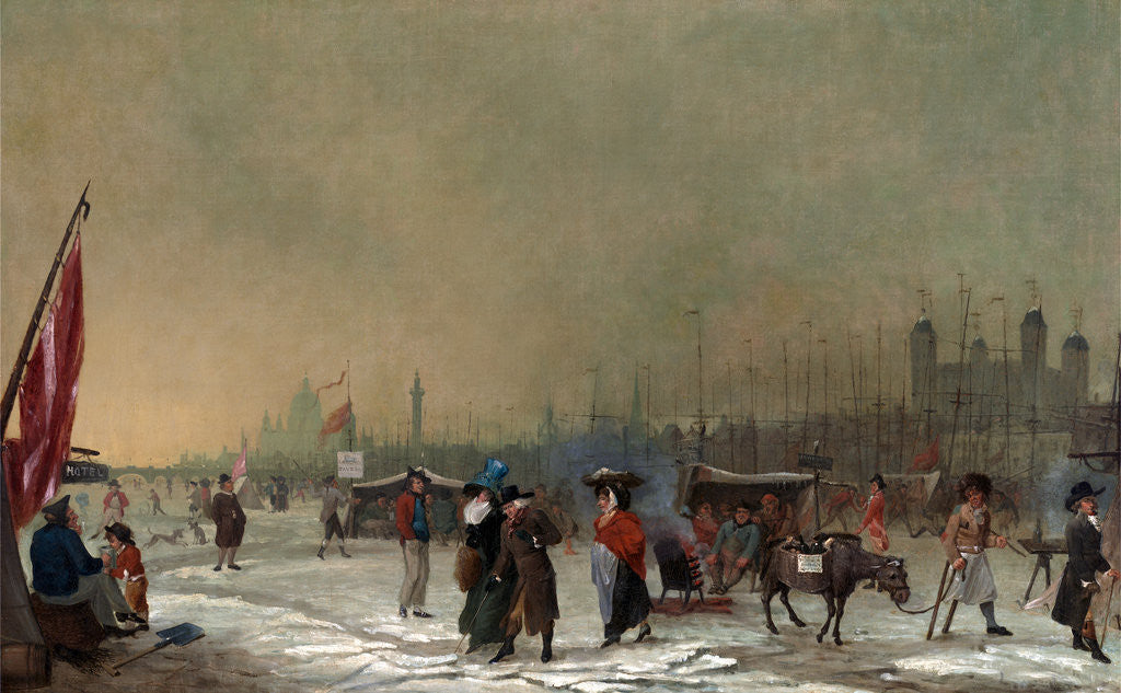 Detail of Frost on the Thames The Thames Frozen Over, near the Tower of London, London Samuel Collings by Samuel Collings