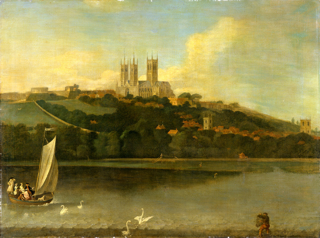 Detail of A View of the Cathedral and City of Lincoln from the River, Joseph Baker of Lincoln by Of Lincoln