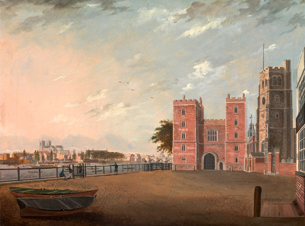 Detail of Lambeth Palace from the West, London by Daniel Turner