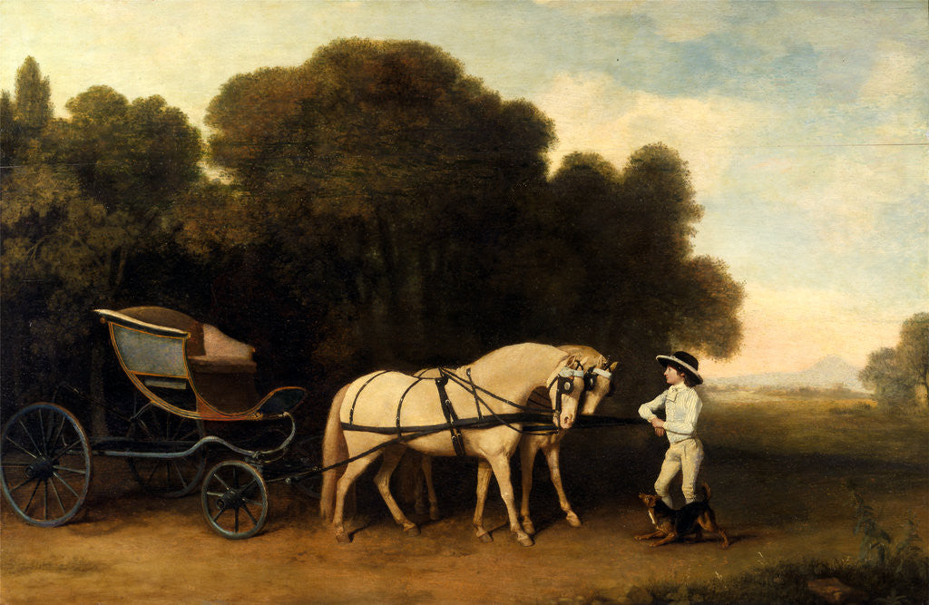 Detail of Phaeton with a Pair of Cream Ponies and a Stable-Lad by George Stubbs