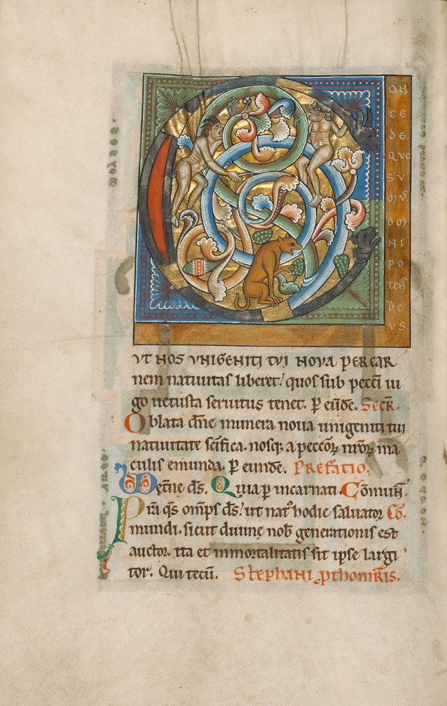 Detail of Inhabited Initial C by Anonymous