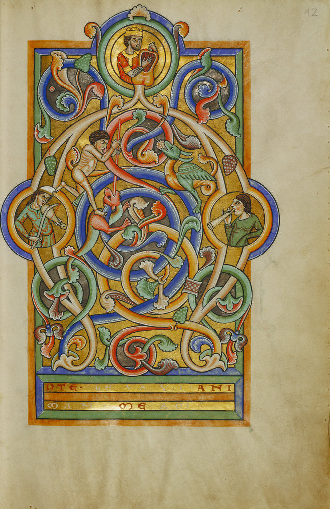 Detail of Initial A: David and Companion Musicians by Anonymous
