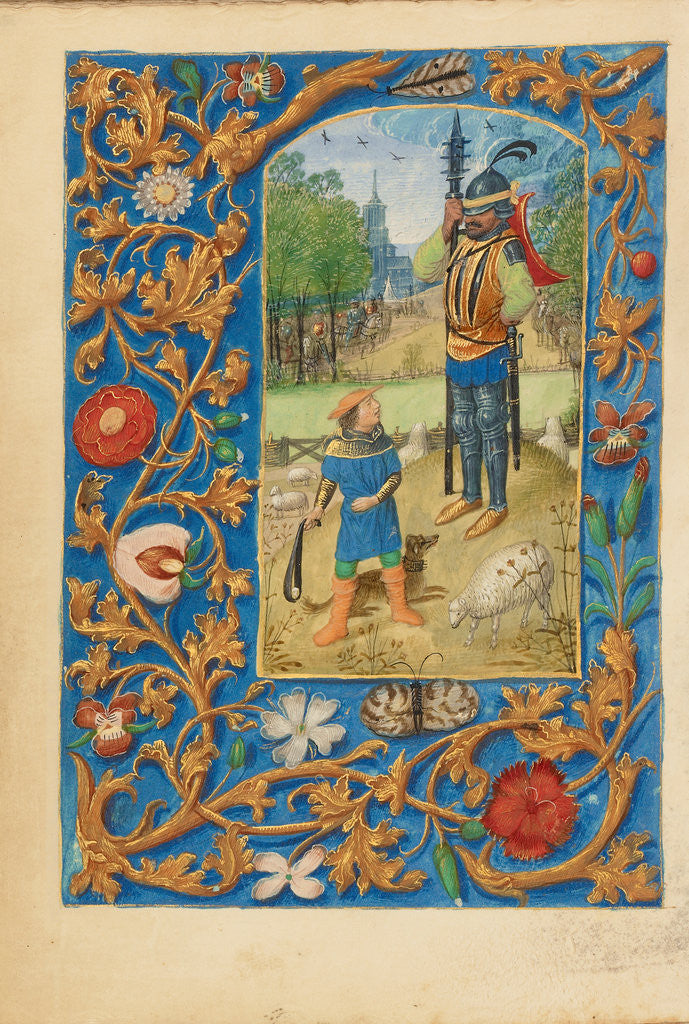 Detail of David and Goliath by Master of the Dresden Prayer Book