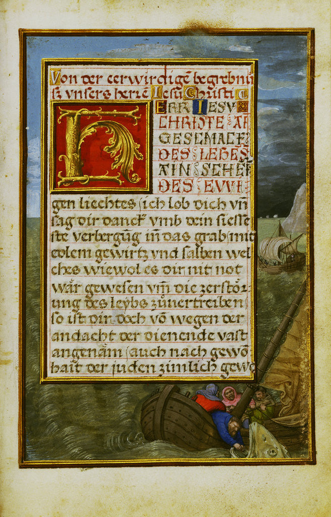 Detail of Border with Jonah Cast into the Sea by Simon Bening