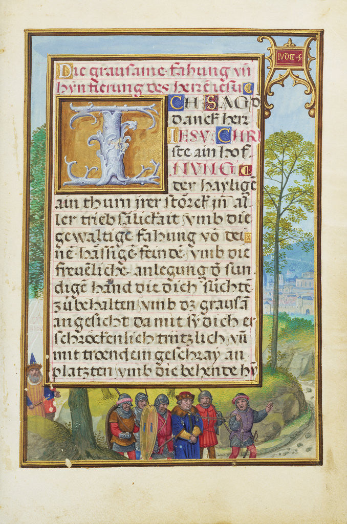 Detail of Border with the Arrest of Achior by Simon Bening