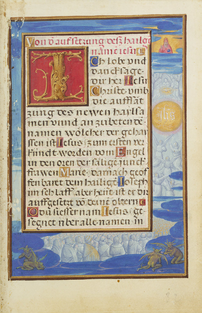 Detail of Border with the Adoration of the Name of Jesus by Simon Bening