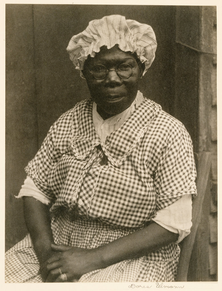 Detail of Black Woman in Cap and Gingham Dress by Doris Ulmann