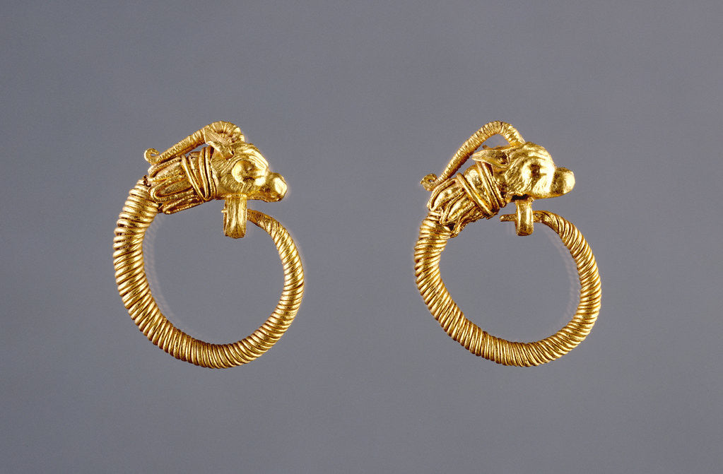 Detail of Hoop Earrings with Antelope Head Finials by Anonymous