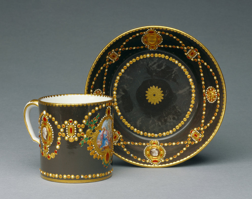 Detail of Cup and Saucer (gobelet litron et soucoupe deuxième grandeur) by Ground color Antoine Capelle