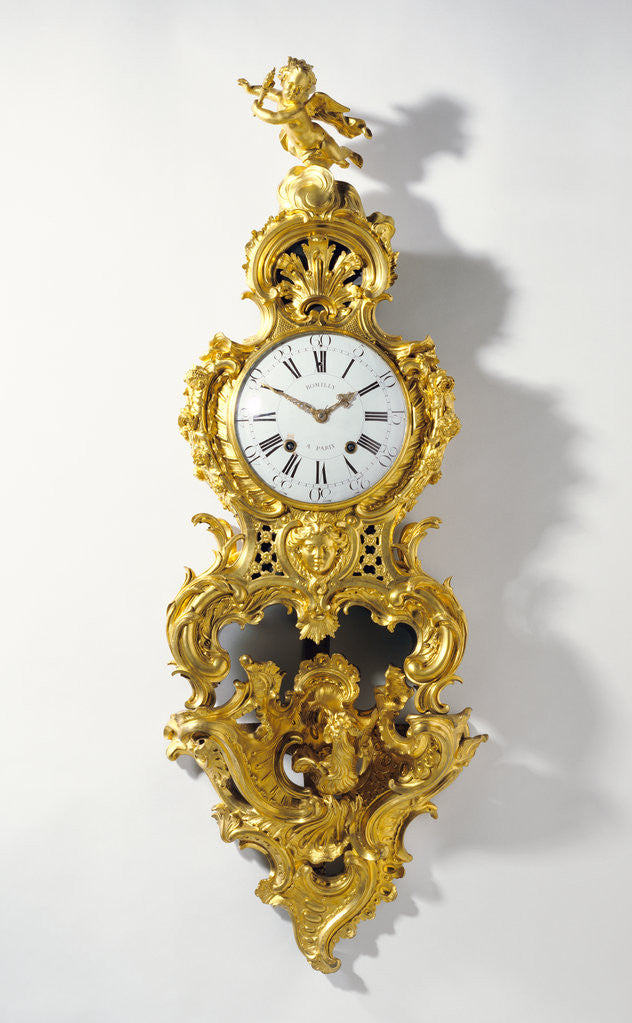 Detail of Clock on Bracket (Cartel sur une console) by Jean Romilly