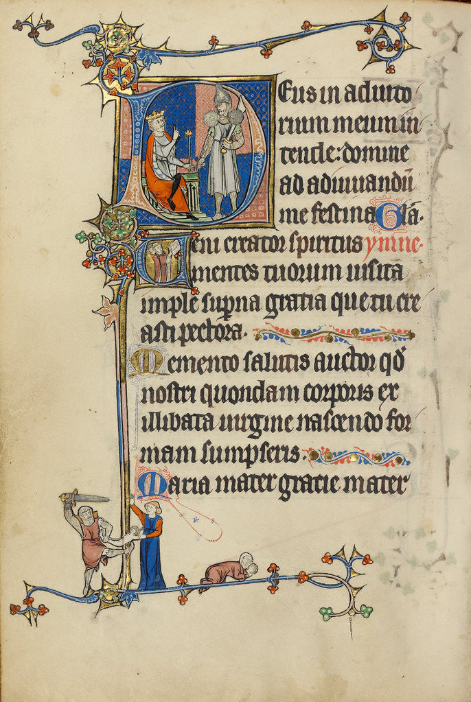 Initial D: Herod Ordering the Massacre of the Innocents, Initial V: Clerics Singing by Anonymous