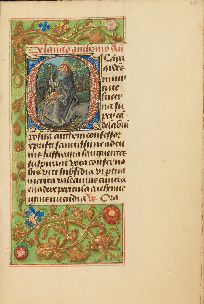 Detail of Initial O: Saint Anthony Abbot by Master of the Dresden Prayer Book