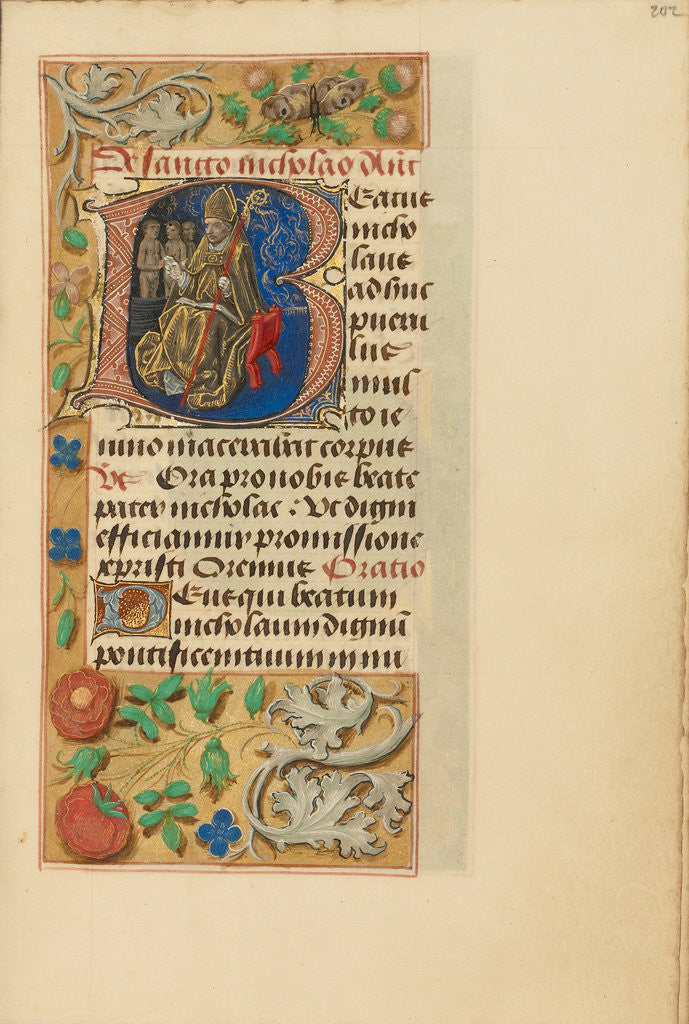 Initial B: Saint Nicholas by Master of the Dresden Prayer Book