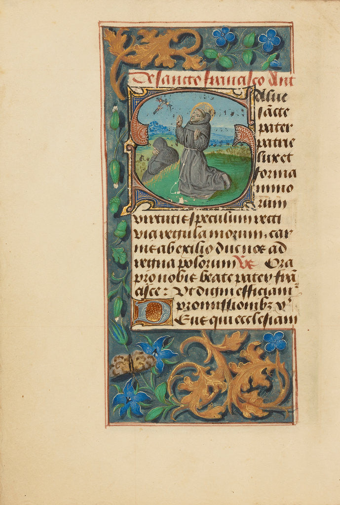 Detail of Initial S: The Stigmatization of Saint Francis by Master of the Dresden Prayer Book
