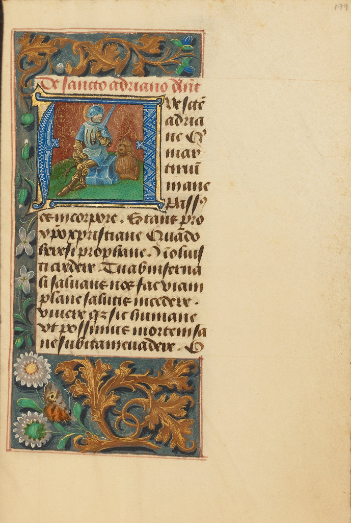 Detail of Initial A: Saint Adrian by Master of the Dresden Prayer Book