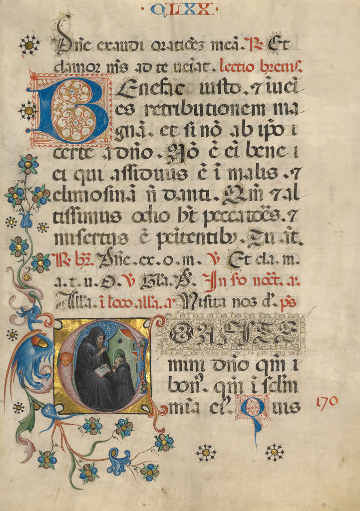Detail of Initial C: Saint Benedict Blessing Maurus by Anonymous