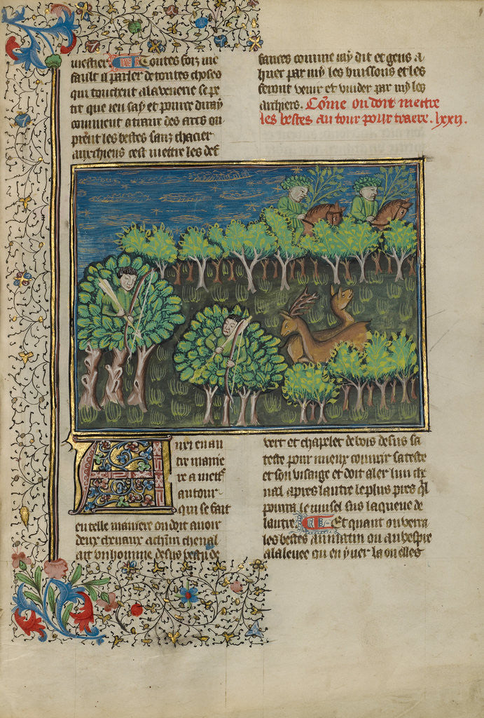 Detail of Camouflaged Hunters Preparing to Attack a Deer by Anonymous