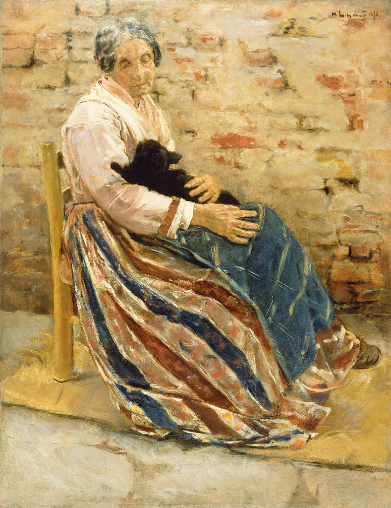 Detail of An Old Woman with Cat by Max Liebermann