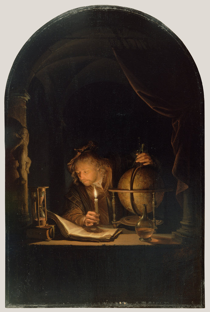Detail of Astronomer by Candlelight by Gerrit Dou