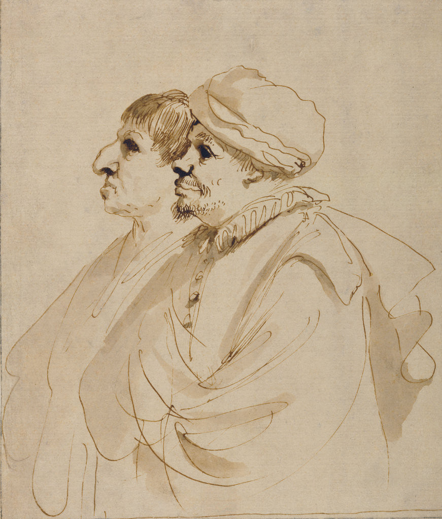 Detail of Caricature of Two Men Seen in Profile by Guercino