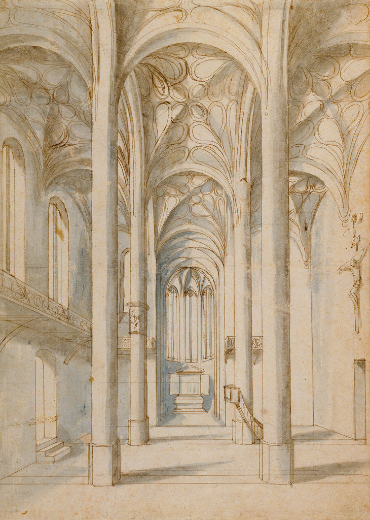Detail of Interior of a Gothic Church by Paul Juvenal the Elder