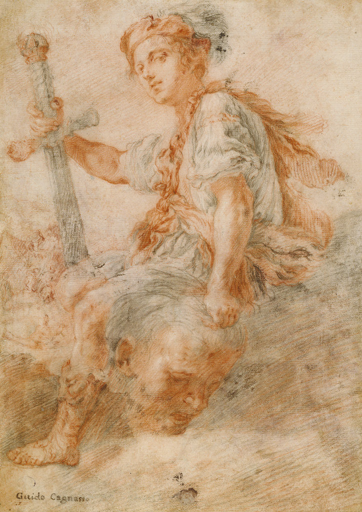 Detail of David with the Head of Goliath (recto), Two Studies, one of a Woman (verso) by Domenico Fetti