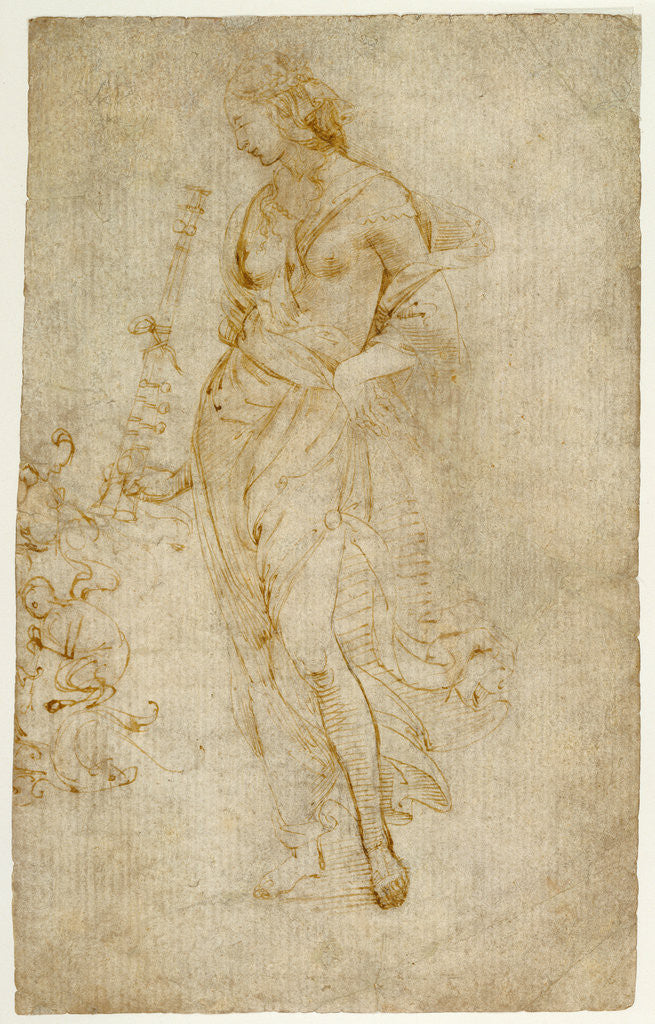 Detail of Female Figure with a Tibia, and Ornamental Studies (recto), Ornamental Studies (verso) by Raphael