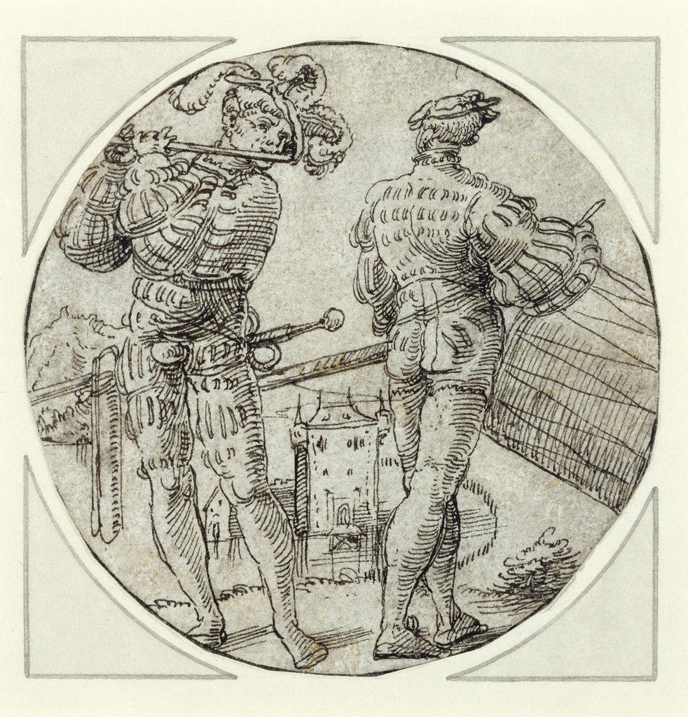 Detail of A Flutist and Drummer Before a Moated Castle by Master of the Berlin Roundels