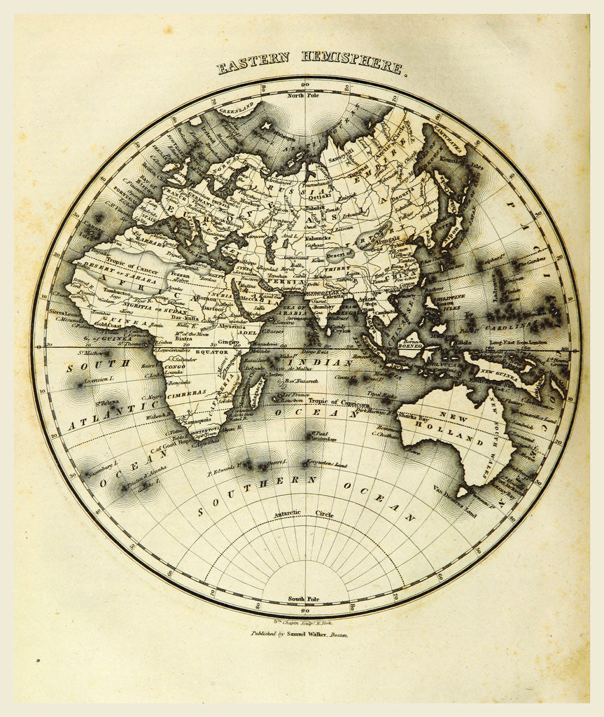 Detail of Eastern Hemisphere map by Anonymous