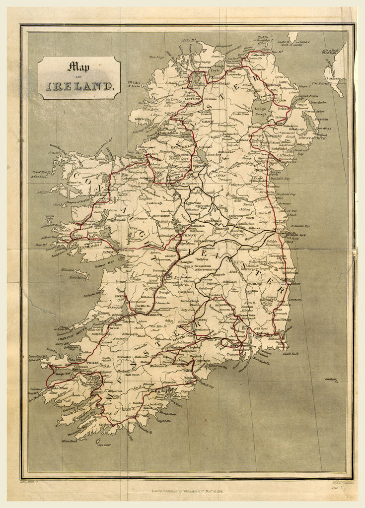 Detail of Ireland in 1834, map by Anonymous