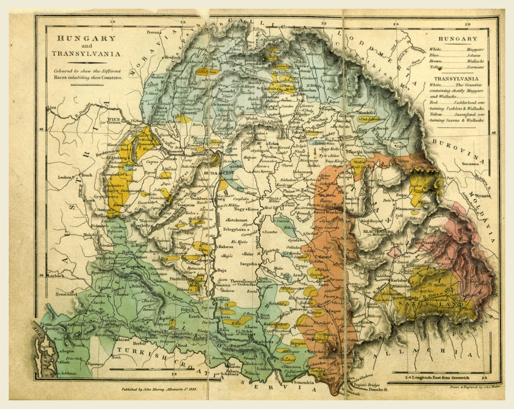 Detail of Hungary and Transylvania map by Anonymous