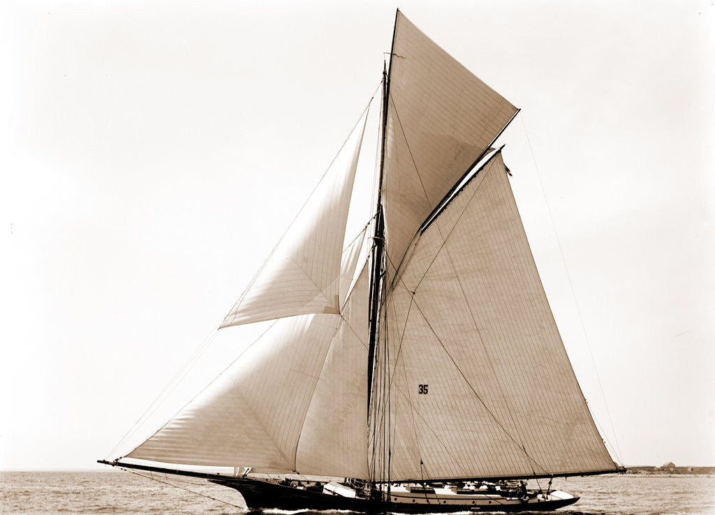 Detail of Gracie, Goelet Cup Race, Gracie (Yacht) by Anonymous