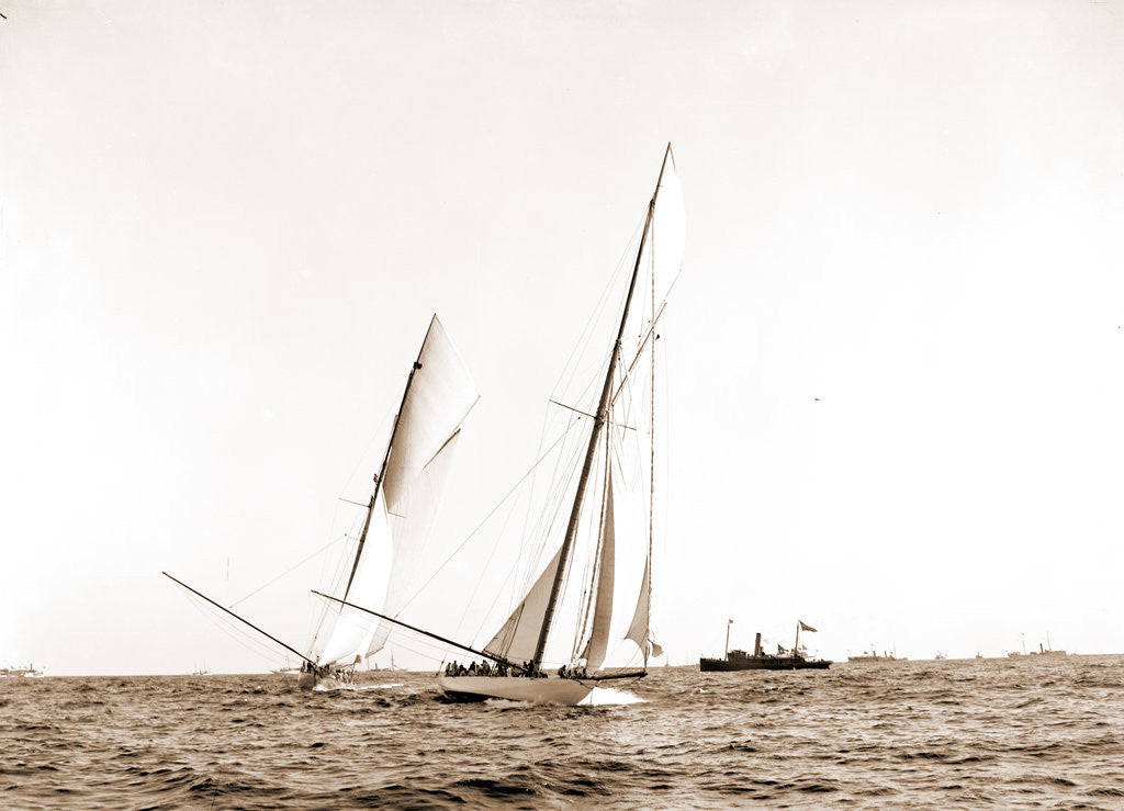 Detail of Columbia crossing the line, Shamrock I astern, Columbia (Sloop), Shamrock I (Yacht) by Anonymous