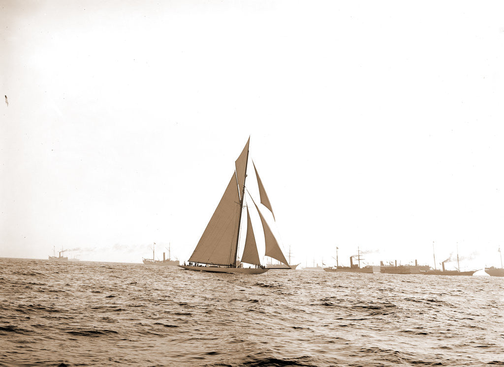 Detail of Columbia at the finish, Columbia (Sloop), 1899 by Anonymous