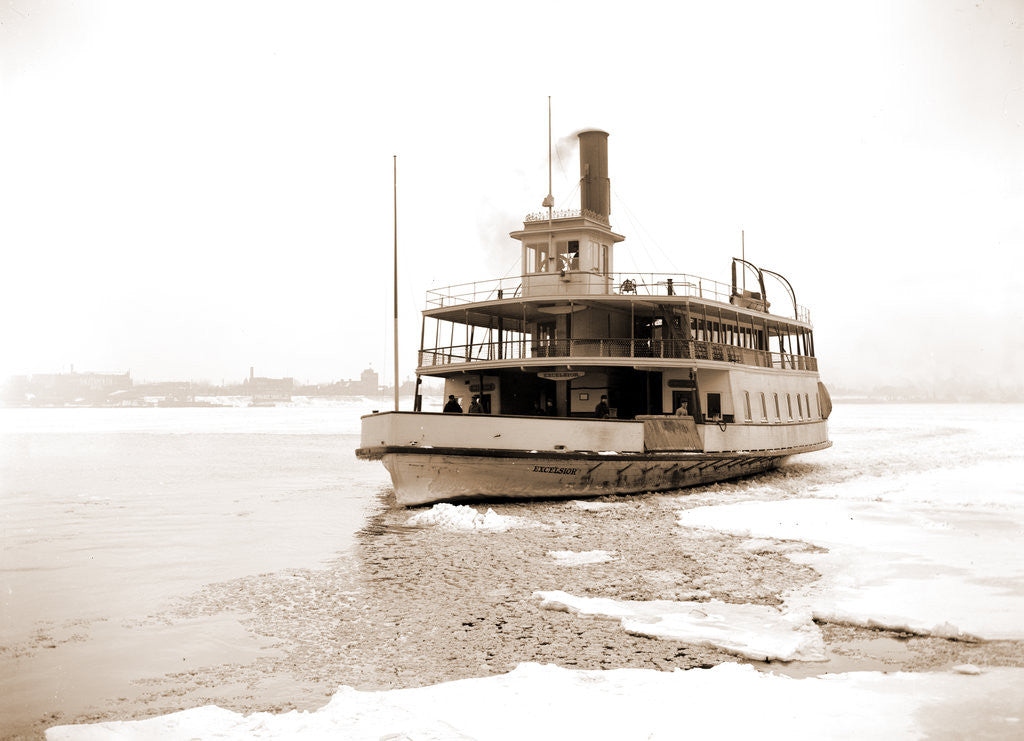Detail of Detroit River ferry boat in ice, Excelsior (Ferry boat), 1880 by Anonymous
