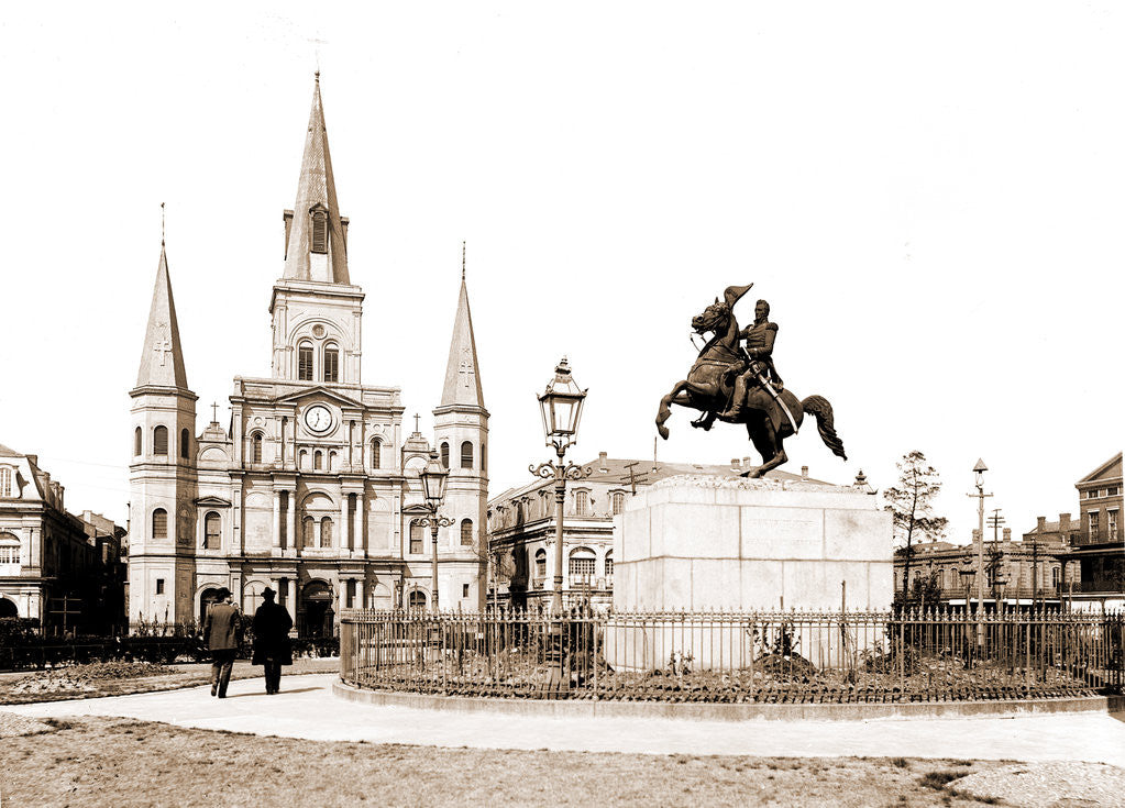 Detail of Jackson Square and St. Louis Cathedral, New Orleans by Anonymous
