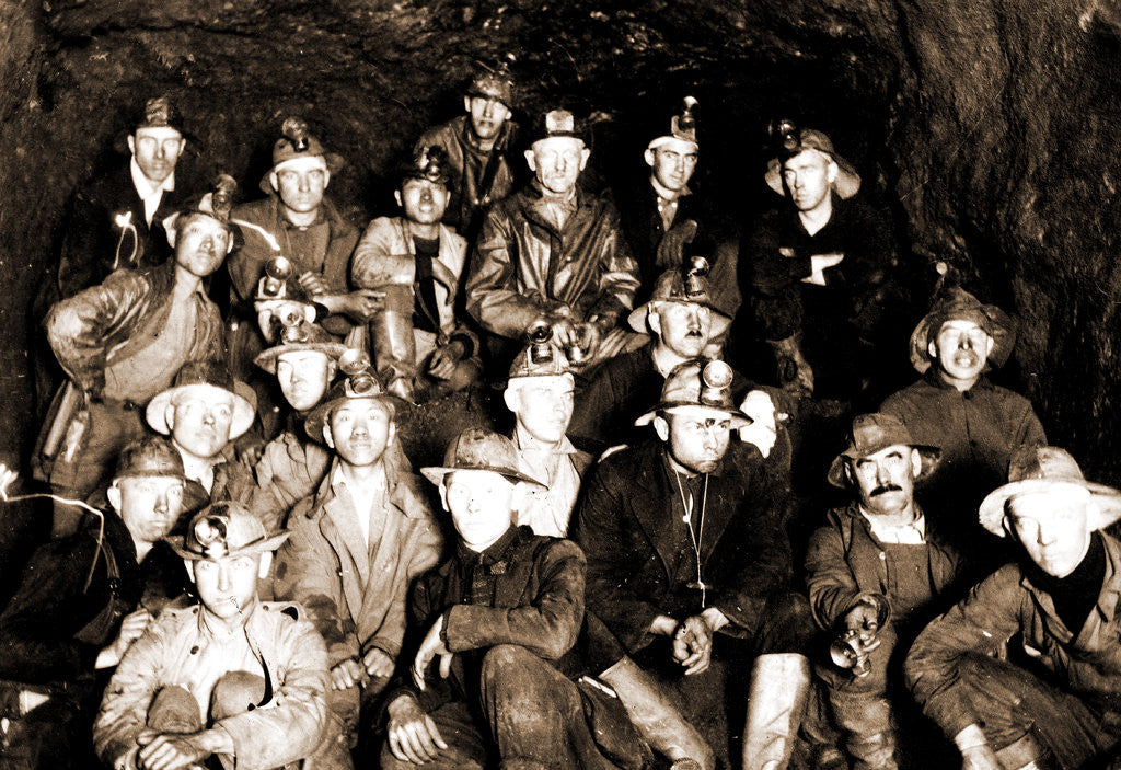Detail of Group of miners underground, Miners by Anonymous